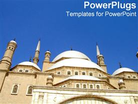 PowerPoint template displaying ancient looking white Egyptian building under clear blue sky