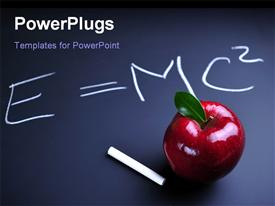 PowerPoint template displaying white chalk and red apple with Einstein relativity equation on blackboard