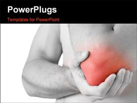 PowerPoint template displaying young man having pain in his elbow