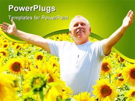 PowerPoint template displaying a happy old man rejoicing in the middle of sunflower plants