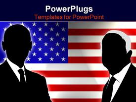 PowerPoint template displaying two candidates of the US election