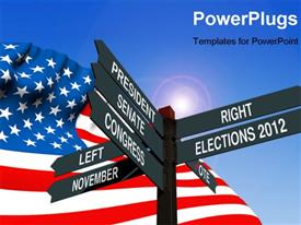 PowerPoint template displaying an American flag with a number of signs and bluish background