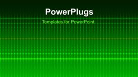 PowerPoint template displaying a short video showing an abstract of electric lines on a green background - widescreen format
