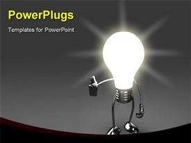 PowerPoint template displaying 19334 white bulb with hands and feet