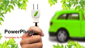 PowerPoint template displaying green electric car, hand with white leaf motif plug, green leaf corners, white background