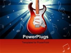 PowerPoint template displaying music Event Background with a colorful Electric Guitar With high contrast colors
