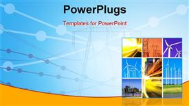 PowerPoint template displaying electricity generation and transmission with collage of wind turbines