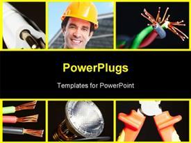 PowerPoint template displaying collage of electrical instruments tools. Electricity and lighting background