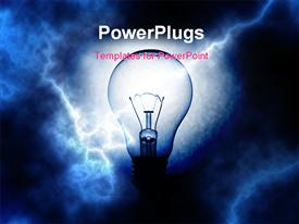 Light bulb on blue electrifying background powerpoint design layout