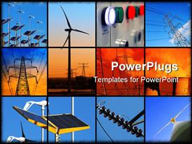 PowerPoint template displaying set of twelve depictions relating to electricity