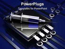 PowerPoint template displaying a syringe with blue liquid in it placed on a steel frame