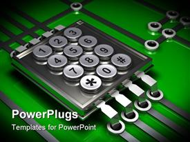 PowerPoint template displaying silver numeric keypad sitting on top of a simple microchip and electronic circuit