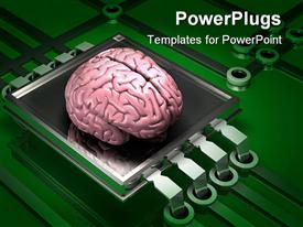 PowerPoint template displaying a human brain on the top of microchip and electronic circuit on green background