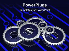 PowerPoint template displaying set of metallic gears sitting on a glowing blue electronic circuit pattern