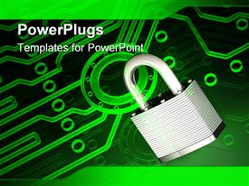 PowerPoint template displaying metallic padlock clamped onto a glowing green electronic circuit pattern in the background.