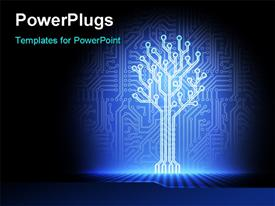 PowerPoint template displaying circuit board background with blue electronic tree