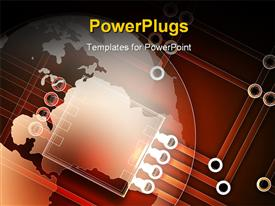 PowerPoint template displaying partial globe over top of a simple electronic circuit pattern in the background.