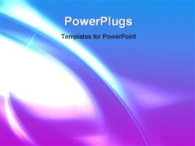 PowerPoint template displaying abstract background with light glow and wavy lines in blue surface