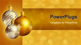 PowerPoint template displaying new year depiction with Christmas balls