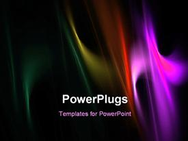 PowerPoint template displaying black background with overlay of multicolored wavy lines