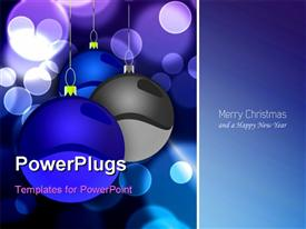 PowerPoint template displaying elegant Christmas background with tree balls blue