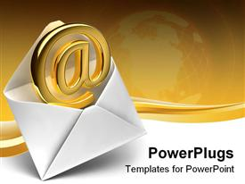 PowerPoint template displaying 3D white simple open envelope with @ symbol coming out of the envelope, email symbol in classic envelope, depiction of globe fading in golden background