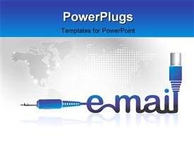 PowerPoint template displaying the word email with map in the background