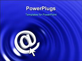 PowerPoint template displaying the symbol with bluish spiral background and place for text