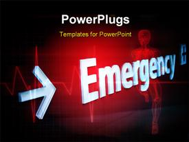 PowerPoint template displaying skeleton word emergency