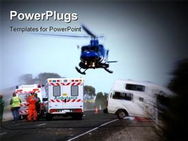 PowerPoint template displaying helicopter lifts off, with patient on board at road crash scene in the background.