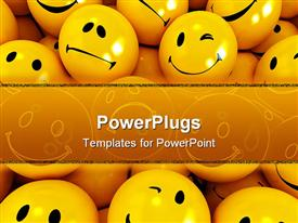 PowerPoint template displaying yellow icons with different facial expressions ideal for background