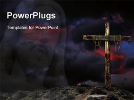 Bloody empty Christian cross against angry cloudy sky powerpoint design layout