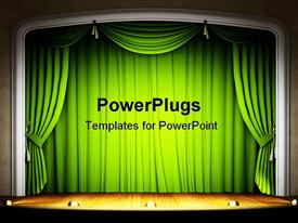 PowerPoint template displaying stage with green curtains, wood floor and lights, theater, performances