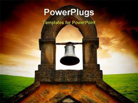 PowerPoint template displaying a bell in the Church with clouds in the background