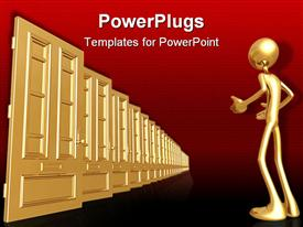 PowerPoint template displaying 3D graphics of a gold colored human character  staring at some gold doors