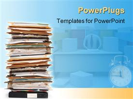 PowerPoint template displaying stack of documents and files in folders pile with alarm clock and teacher at desk