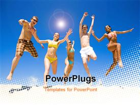 PowerPoint template displaying five happy people in acrobatic jump over white dotted surface