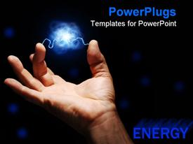 PowerPoint template displaying male hand with electricity arcing between thumb and middle finger