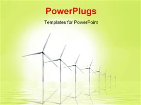 PowerPoint template displaying ecology preservation depiction with wind turbines in reflecting surface