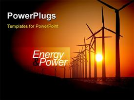 Energy and power - abstract illustration with electric pylon powerpoint template