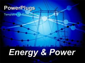 PowerPoint template displaying energy and power - abstract depiction with electric pylon