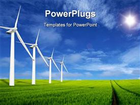PowerPoint template displaying wind Mill landscape wind turbines blue sky