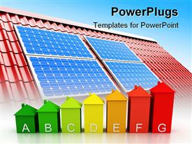 PowerPoint template displaying red roof with solar panels on  it and chart of energy efficient houses