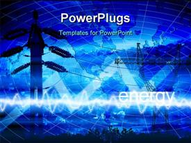 PowerPoint template displaying energy and power depiction with abstract background