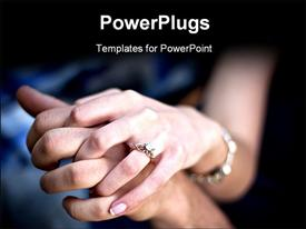 PowerPoint template displaying young couple holding hands with diamond engagement ring and platinum bracelets