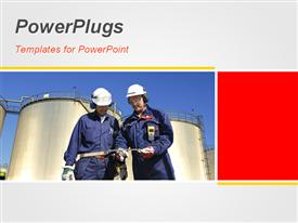 PowerPoint template displaying two workers with a chemical plant and place for text