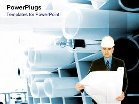 PowerPoint template displaying a man wearing an engineers helmet, holding an open scroll