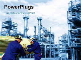 PowerPoint template displaying industrial plant in background with engineers exchanging equipments