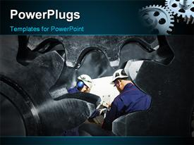 PowerPoint template displaying a number of workers with a number of gears