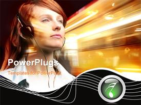 Girl listening to music with earphones on a light background template for powerpoint